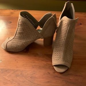 Tan peep toe booties/heels by ANA